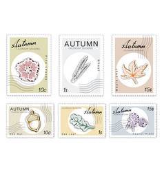 Post stamps set of autumn plants with paper cut ar vector
