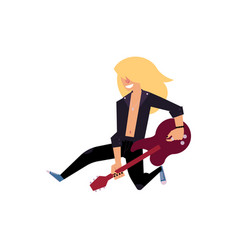 Rock musician jumping on stage with guitar vector
