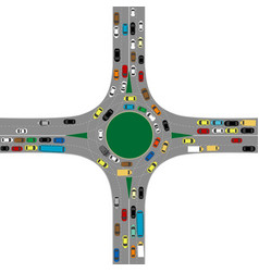 roundabout road junction with many cars vector image