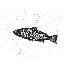 Salmon lettering in silhouette vector