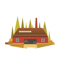 sawmill building factory cartoon vector image