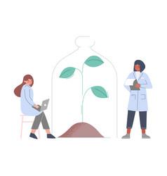Scientists in lab bioengineers in white coat vector
