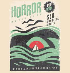 sea monster theme cinema movie in retro style vector image