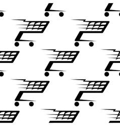 Seamless pattern a speeding shopping cart vector