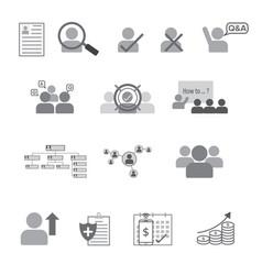 set human resource flat line icon vector image