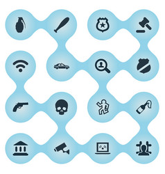 Set simple crime icons vector