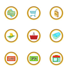 Shop icons set cartoon style vector