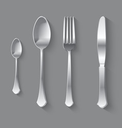 Silver Fork Spoon and Knife Top View vector image