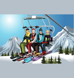 Skiers on the ski lift vector