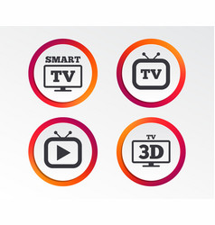 smart 3d tv mode icon retro television symbol vector image