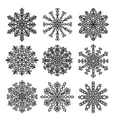 Snowflakes Mandala Set vector image