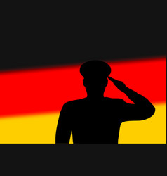 solder silhouette on blur background with germany vector image