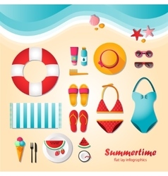 Summertime flat lay infographics vector image