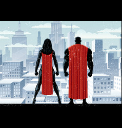 superhero couple watch winter vector image