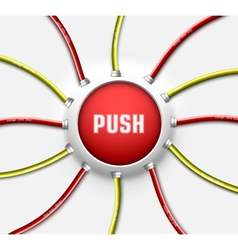 Technical button push with wire background vector