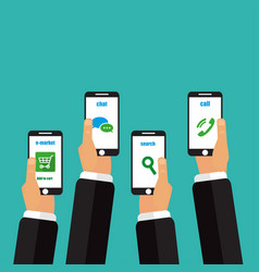 the concept of mobile on a turquoise background vector image
