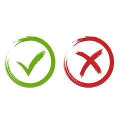 Tick and cross signs green and red checkmark vector