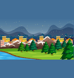 Town and park scene with snow vector