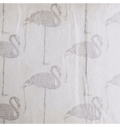 vintage of a flamingo pattern on the old wri vector image