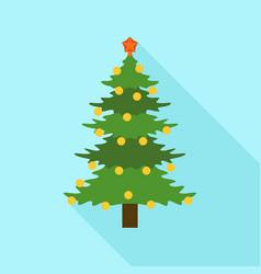 Xmas fir tree icon flat style vector