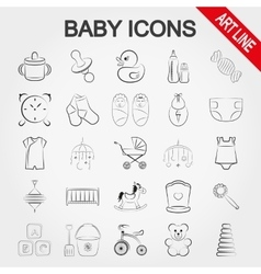 Collection of cute baby icons vector image vector image