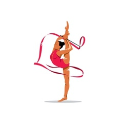 Gymnastics with ribbon sign vector image vector image