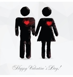 Polygon couple in love - vector image