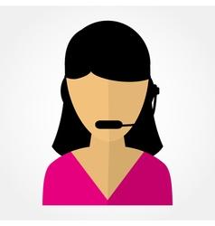 Employee call center girl with headphones vector