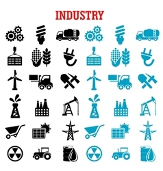 Industrial and energy flat icons set vector image vector image