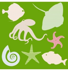 Set 3 of fish silhouettes with simple patterns vector image