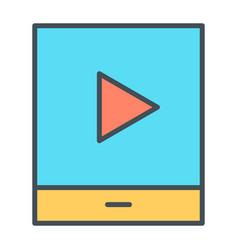 tablet with play button thin line icon pictogram vector image