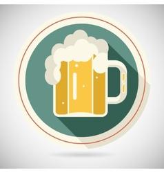 Beer Mug with Foam Retro Symbol Alcohol Icon long vector image