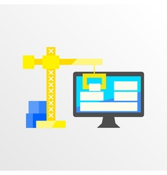 BuildingDesigning a website or application Flat vector image