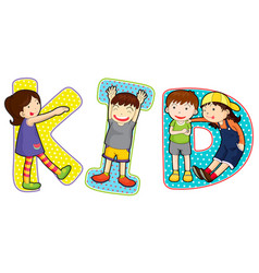 font design for word kid vector image vector image