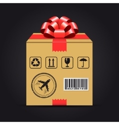Shipping cardboard box with red bow vector image vector image