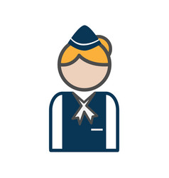 stewardess avatar icon on white background vector image