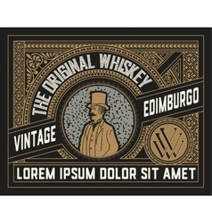 Whiskey label with old ornaments layered vector