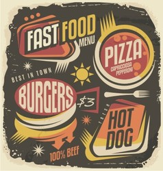 Burger pizza hot dog unique labels on black chal vector image vector image