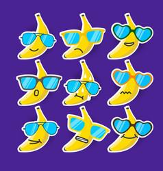 cartoon banana emojis with sunglasses vector image