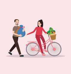 couple buy vegetable riding bicycle happy healthy vector image vector image