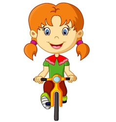 Cute little girl riding a bike vector image