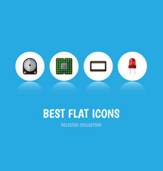 Flat icon appliance set of unit hdd mainframe vector