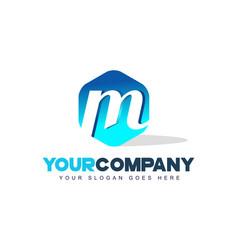 m letter logo hexagon shape modern design vector image