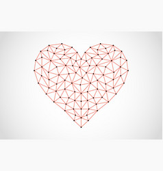 abstract heart icon from lines and triangles vector image