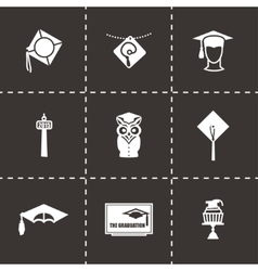 Academic cap icon set vector