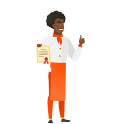 African-american chef cook holding a certificate vector