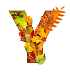 Autumn stylized alphabet with foliage letter y vector