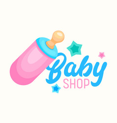 Baby shop banner infant milk bottle with soother vector