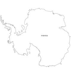 Black White Antarctica Outline Map vector