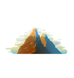 bright colorful snowy mountain silhouette in vector image
